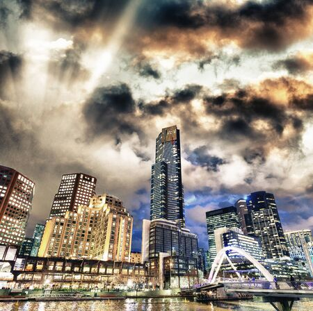 Night city view of buildings along Yarra River, Melbourne 写真素材