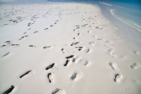 Footprints on a wonderful pristine beach.
