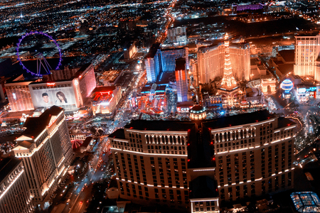 LAS VEGAS - JUNE 30, 2018: City view from helicopter at night. The city is the most famous world gambling destination.