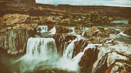 Spectacular aerial view of Shoshone Falls or Niagara of the West with Snake River, Idaho, USA Фото со стока