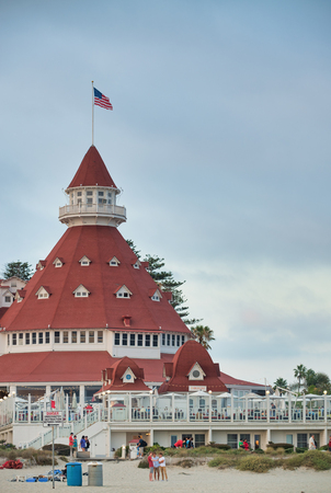 SAN DIEGO, CALIFORNIA - JULY 30, 2017: Historic Hotel del Coronado, known local as the Hotel Del, is a wooden Victorian beach resort on Coronado Island.