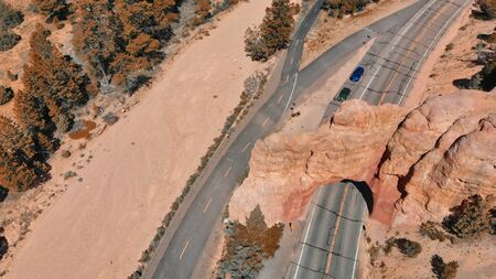 Red arch located at the entrance to Bryce Canyon National Park, Utah aerial view