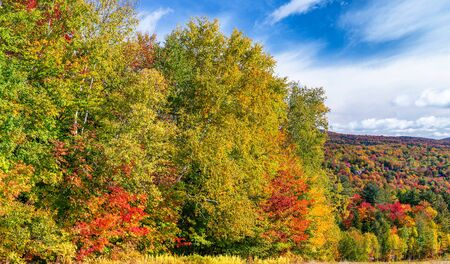 Landscape of New England in Foliage Season, October in USA.