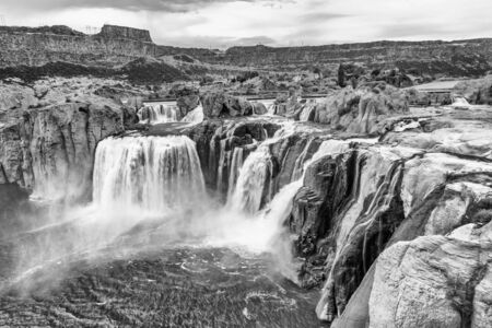 Powerful Shoshone Falls on a cloudy day, Idaho.