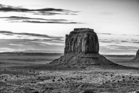 Monument Valley at sunrise, aerial view. Imagens