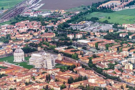 Aerial view of Pisa Tower and Field of Miracles, Tuscany - Italy