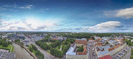 Panoramic sunset aerial view of Tartu skyline in summer season, Estonia.