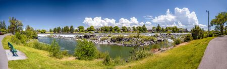 Panoramic view of Idaho Falls waterfalls in summer, USA. Фото со стока