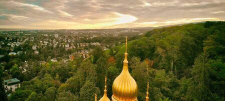Russian Orthodox Church panoramic aerial view in Wiesbaden at sunset, Germany.