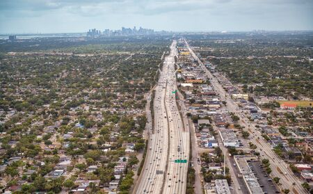 Florida interstate aerial view from landing aircraft.