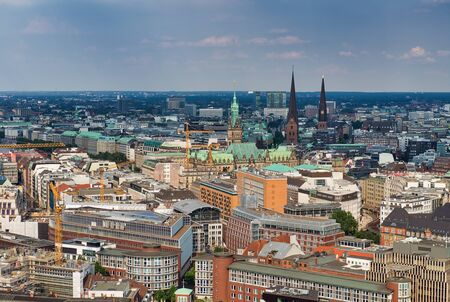 Hamburg aerial skyline on a sunny day, Germany.