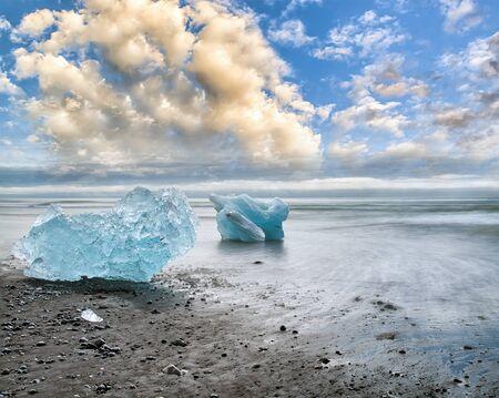 Blurred long exposure view of Icebergs moving in Jokulsarlon Lagoon, Iceland.