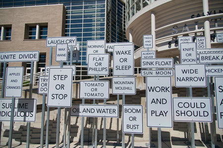 SALT LAKE CITY, UT - JULY 14, 2019: Street signs in front of Salt Palace Convention Center on a beautiful sunny day. They are a tourist attraction.
