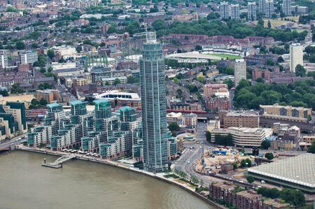 Aerial view of London skyline along River Thames. Vauxhall district. Imagens