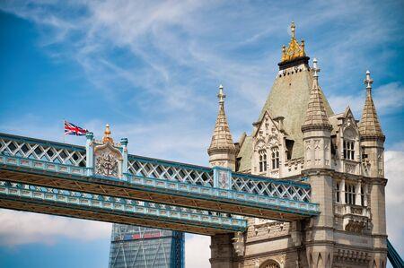 Close up of Tower Bridge Pylon in summer season. Stockfoto
