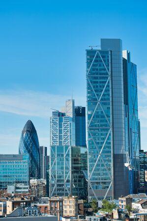 Modern skyline of London City in summer.