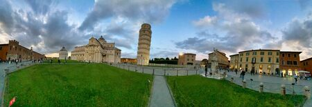 Tower of Pisa at sunset, Field of Miracles, Tuscany, Italy. Stock Photo
