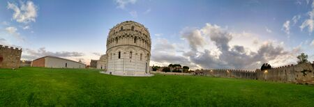 Baptistery of Pisa at sunset, Field of Miracles, Tuscany, Italy.