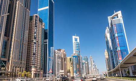 DUBAI - NOVEMBER 22, 2015: Panoramic view of downtown city skyline. Dubai is a famous destination for tourists. Editorial