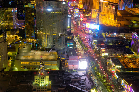 LAS VEGAS, NEVADA- JUNE 30, 2018: Helicopter view of the Strip and city Casinos. Las Vegas is the capital of gambling.
