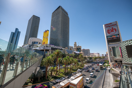 LAS VEGAS - JULY 1, 2018: View of The Strip with Casinos on a sunny day. Las Vegas is the gambling capital.