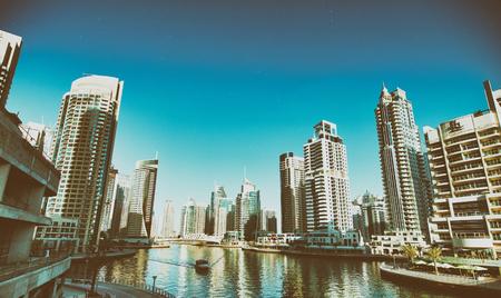 DUBAI - NOVEMBER 22, 2015: Beautiful view of Dubai Marina skyline. Dubai is a famous destination for tourists.