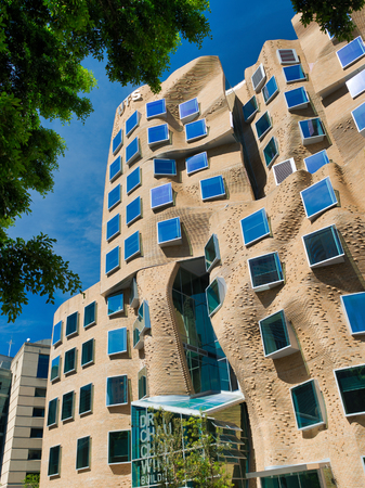 SYDNEY - NOVEMBER 10, 2015: View of paper bag building or the Dr Chau Chak Wing Building at the University of Technology. It was designed by architect Frank Gehry. Editorial