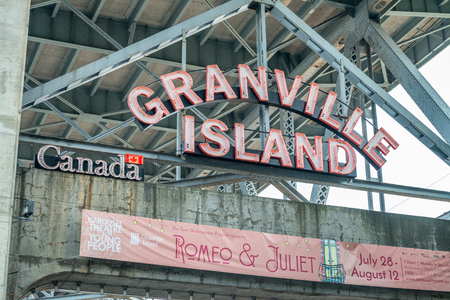 VANCOUVER, CANADA - AUGUST 10TH, 2017: Entrance signage at Granville Island in Vancouver. Editorial