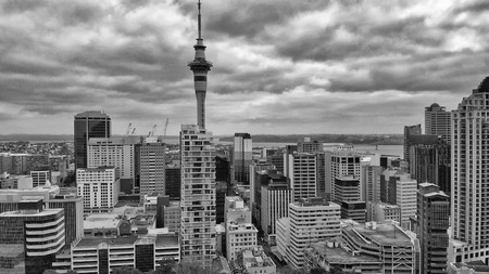 AUCKLAND, NEW ZEALAND - AUGUST 2018: Panoramic aerial view of city skyline. Auckland attracts 5 million people annually