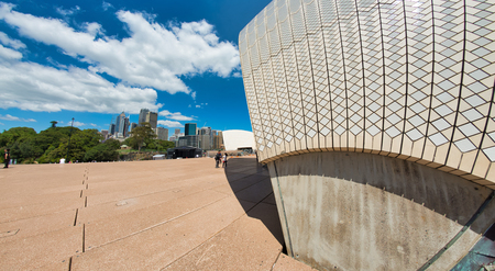 SYDNEY - OCTOBER 2015: Panoramic view of Sydney Opera House on a sunny day. The city attracts 20 million people annually. Editorial