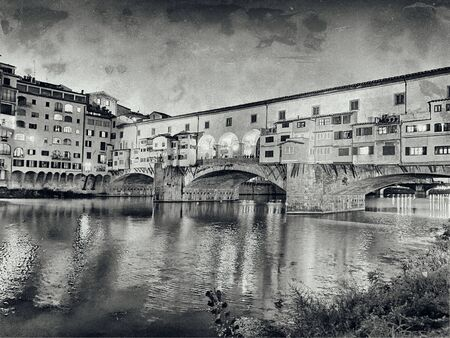 Old Bridge and Florence Lungarni at night. Panoramic cityscape of Firenze in Autumn, Tuscany - Italy Imagens