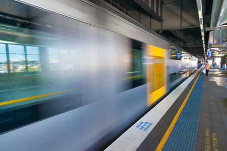 SYDNEY - OCTOBER 2015: Subway train in the railway station. The city attracts 20 million people annually.