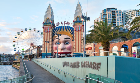SYDNEY - NOVEMBER 6, 2015: Beautiful view of Luna Park Wharf. Sydney attracts 20 million tourists every year. Editorial