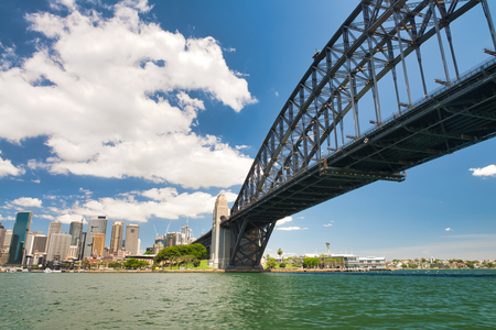 SYDNEY - OCTOBER 2015: Panoramic view of Sydney Harbor on a sunny day. The city attracts 20 million people annually.