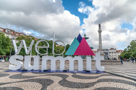 LISBON - OCTOBER 30, 2018: Sign advertising Web Summit, the largest technology convention in Europe which was held in Lisbon. Editorial