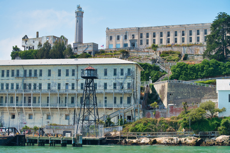 SAN FRANCISCO, CA - AUGUST 7, 2017: Exterior view of buildings in Alcatraz Island. The city attracts 20 million tourists annually.