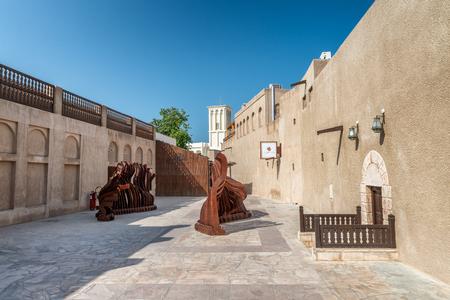 DUBAI - OCTOBER 2015: Old houses in ancient city quarter. Dubai is a fast growing tourist destination.