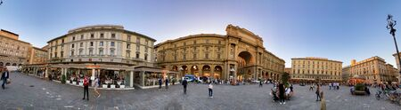 FLORENCE, ITALY - SEPTEMBER 26, 2019: Panoramic view of Republic Square at sunset, Firenze.