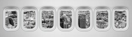 Beautiful scenic city view of London through the aircraft windows.