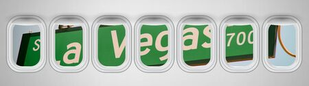 Beautiful scenic view of Las Vegas Boulevard street sign through the aircraft windows. Stock Photo