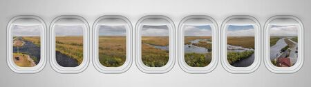 Beautiful scenic view of Everglades National Park through the aircraft windows. Standard-Bild