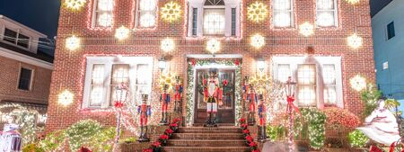 Christmas Lights in Dyker Heights district. It is the cutest small area of houses  decorated for the holiday season in the Brooklyn Metropolitan Area, New York City.