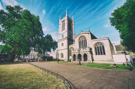 LONDON, UK - JUNE 2015: Tourists visit St Margaret Church on a beautiful sunny day.