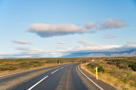 Beautiful landscape scenario with dramatic sky along the ring road, route 1 in Iceland, Europe