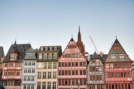 Romerberg city old square in central Frankfurt with medieval buildings.