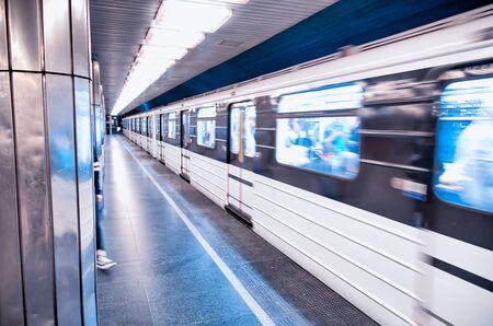 Train in Budapest city subway, Hungary. Archivio Fotografico