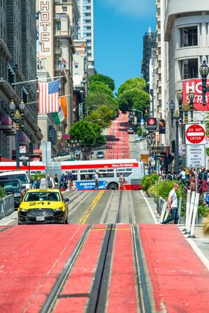 SAN FRANCISCO - AUGUST 6, 2017: Market street with tram lane in summer season.