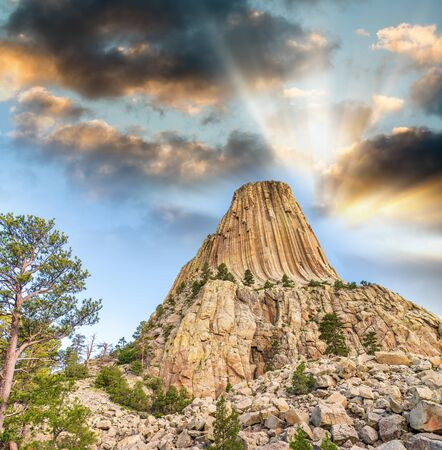 Sunset view of Devil's Tower and surrounding natural landscape, Wyoming