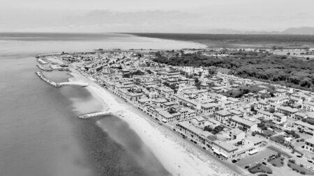 Amazing aerial view of Marina di Pisa coastline, Tuscany. Italian coast from the drone