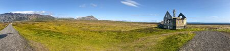 Dagverdara ruins of a old house in Arnarstapi, Iceland. Panoramic view in summer season.